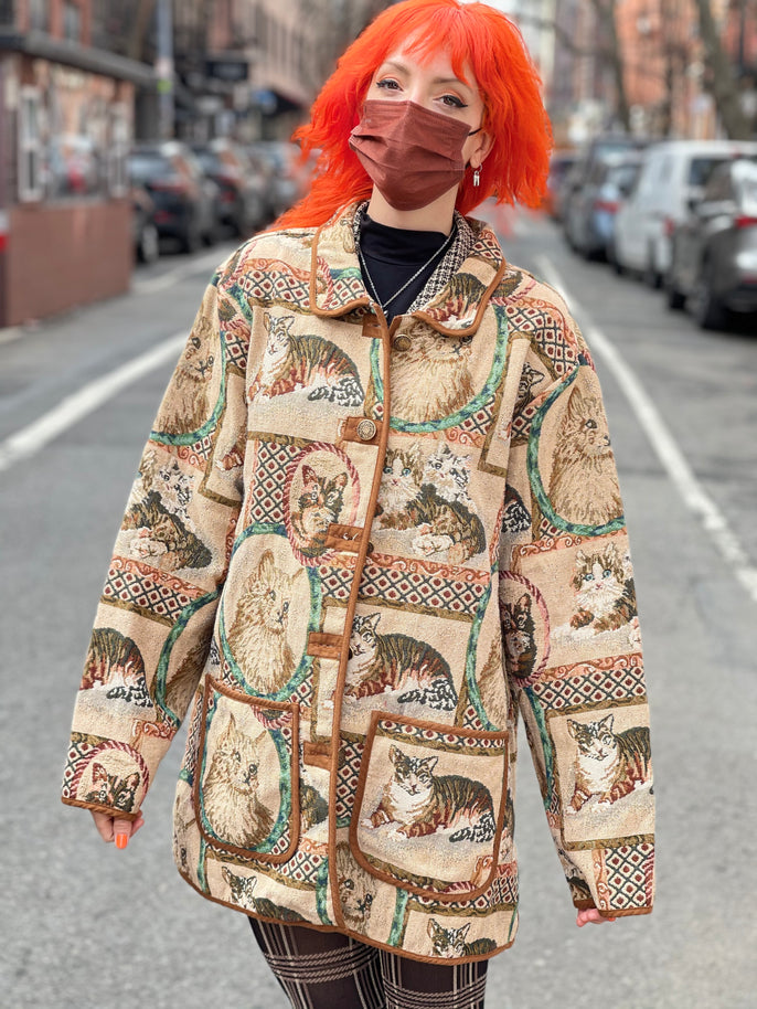 Vintage 90s Allover Cats Tapestry Jacket