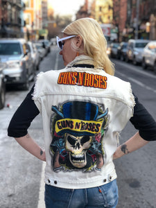 Vintage 80s 90s Guns N Roses Painted Denim Vest - Spark Pretty