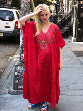 Vintage 90s Red Beaded Caftan Maxi Dress