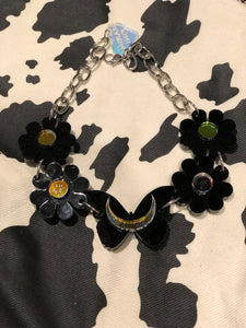 Black Holo Butterfly Flower Choker by Marina Fini | Necklaces - 80s 90s Retro Vintage Clothing | Spark Pretty
