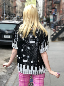 Vintage 80s Sequin Piano Key Sequin Top | Shirt - 80s 90s Retro Vintage Clothing | Spark Pretty