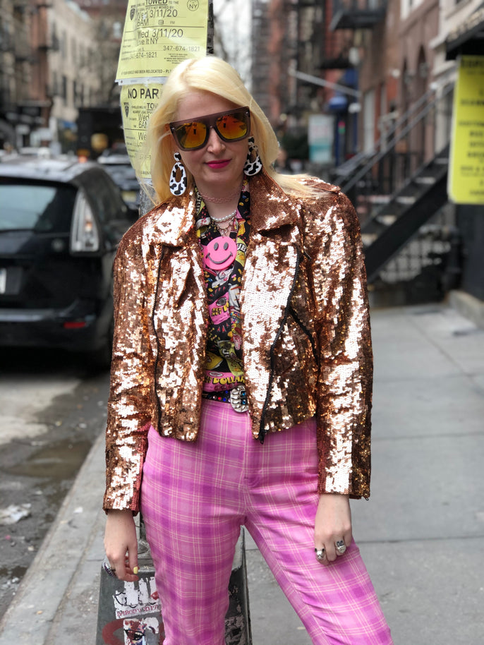 Vintage 80s Rose Gold Sequin Moto Jacket | Jackets - 80s 90s Retro Vintage Clothing | Spark Pretty