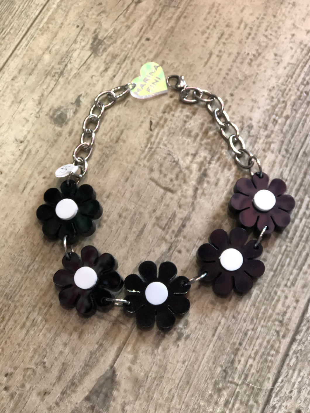 Black and White Flower Power Choker by Marina Fini | Necklaces - 80s 90s Retro Vintage Clothing | Spark Pretty