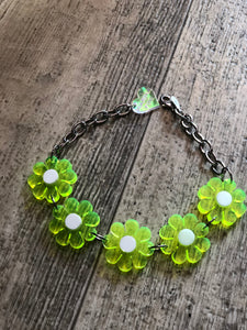 Neon Green Flower Power Choker by Marina Fini | Necklaces - 80s 90s Retro Vintage Clothing | Spark Pretty