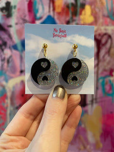 Mini Yin Yang Glitter Earrings by No Basic Bombshell