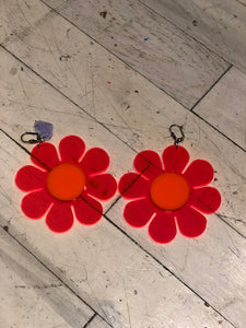 Neon Pinky Red Flower Power Earrings by Marina Fini | Earrings - 80s 90s Retro Vintage Clothing | Spark Pretty
