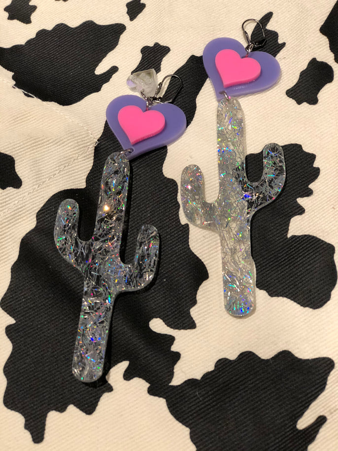 Silver Glitter Cactus Pink Purple Hearts XL Earrings by Marina Fini | Earrings - 80s 90s Retro Vintage Clothing | Spark Pretty