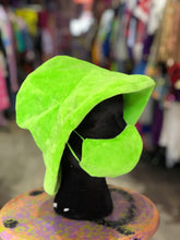 Neon Green Fuzzy Mask and Bucket Hat Set by Devani Weaver