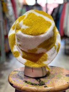 Fuzzy Cow Print Bucket Hat