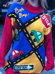 Vintage 90s Stop Traffic Sweater | Sweaters - 80s 90s Retro Vintage Clothing | Spark Pretty