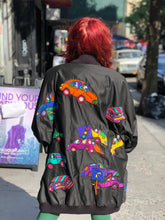 Vintage 80s Colorful Silk Cars Patchwork Avant Garde Oversized Kimono Jacket | Jackets - 80s 90s Retro Vintage Clothing | Spark Pretty