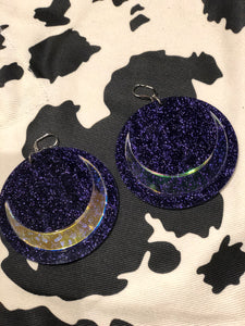 Purple Glitter Holo Moon XL Earrings by Marina Fini | Earrings - 80s 90s Retro Vintage Clothing | Spark Pretty