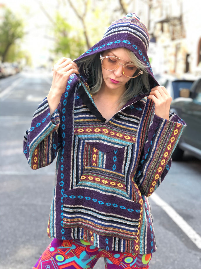 Vintage 90s Colorful Woven Hoodie - Spark Pretty