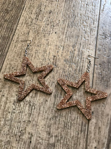 Large Star Gold Glitter Earrings by NBB | Earrings - 80s 90s Retro Vintage Clothing | Spark Pretty