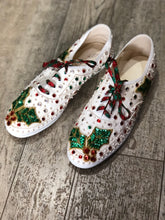 Vintage 80s Sequin Bedazzled Lace Up Christmas Sneakers Size 10