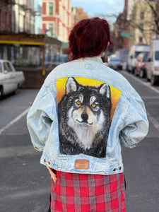 Vintage 80s Levi's Wolf Hand Painted Jean Jacket