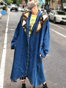 Vintage 80s Studded Denim Duster Jacket