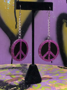 Peace Sign Glitter Earrings by No Basic Bombshell
