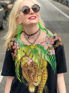 Vintage Black Tropical Painted Tiger Top