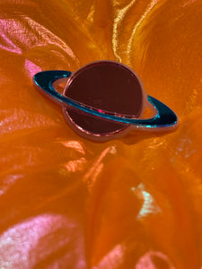 Pink and Blue Mirror Saturn Ring by Marina Fini
