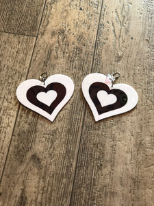 Black and White Heart Earrings by Marina Fini | Earrings - 80s 90s Retro Vintage Clothing | Spark Pretty