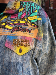 Vintage 80s 90s Miami theme bedazzled Jean Jacket | Jackets - 80s 90s Retro Vintage Clothing | Spark Pretty
