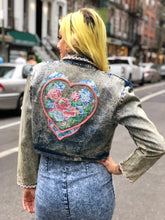 Vintage 80s bedazzled cropped Acid Wash Jean Jacket | Jackets - 80s 90s Retro Vintage Clothing | Spark Pretty