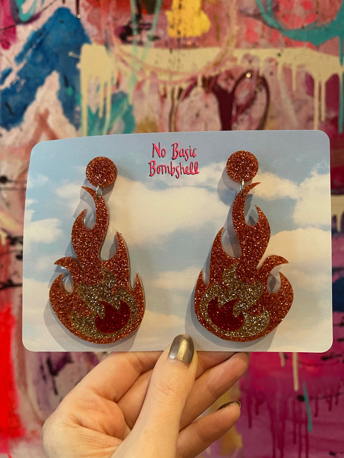 Rose Gold Glitter Flames Earrings by No Basic Bombshell