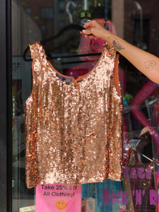 Vintage 80s Rose Gold Sequin Silk Tank Top | Shirt - 80s 90s Retro Vintage Clothing | Spark Pretty