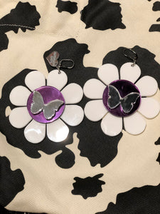 White Flower Mirror Butterfly Earrings by Marina Fini | Earrings - 80s 90s Retro Vintage Clothing | Spark Pretty