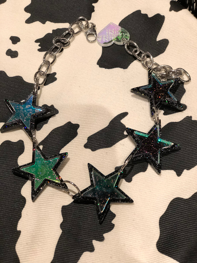 Black Rainbow Glitter Holo Star Choker by Marina Fini | Necklaces - 80s 90s Retro Vintage Clothing | Spark Pretty
