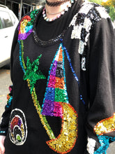 Vintage 80s Sequin Geometric Print Black Sweater