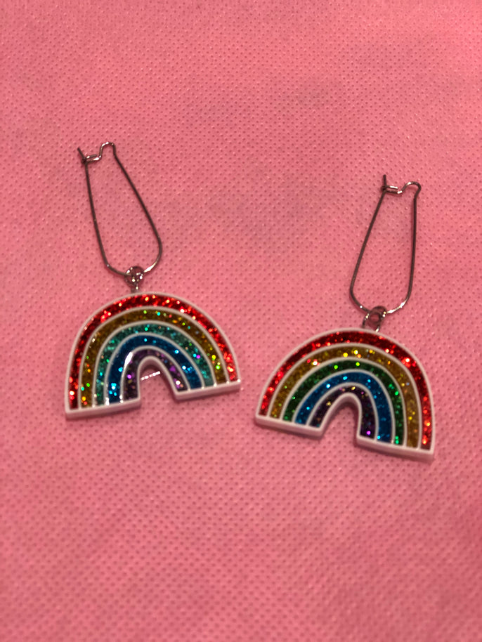 Rainbow Sparkle Dangle Earrings by No Basic Bombshell | Earrings - 80s 90s Retro Vintage Clothing | Spark Pretty