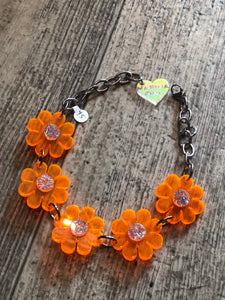 Neon Orange Flower Choker by Marina Fini | Necklaces - 80s 90s Retro Vintage Clothing | Spark Pretty