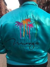 Vintage 80s Mirage Las Vegas Teal Bomber Jacket | Jackets - 80s 90s Retro Vintage Clothing | Spark Pretty