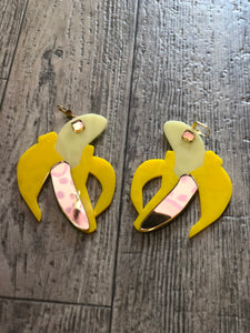 Yellow and Gold XL Banana Earrings by Marina Fini | Earrings - 80s 90s Retro Vintage Clothing | Spark Pretty