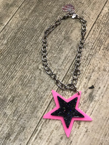 Pink and Black Glitter Star Necklace by Marina Fini | Necklaces - 80s 90s Retro Vintage Clothing | Spark Pretty