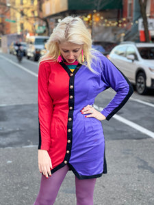 Vintage 80s Two Toned Colorblock Mini Dress
