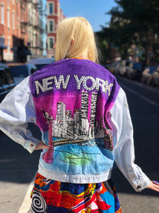 Vintage 80s New York Bedazzled Jean Jacket | Jackets - 80s 90s Retro Vintage Clothing | Spark Pretty
