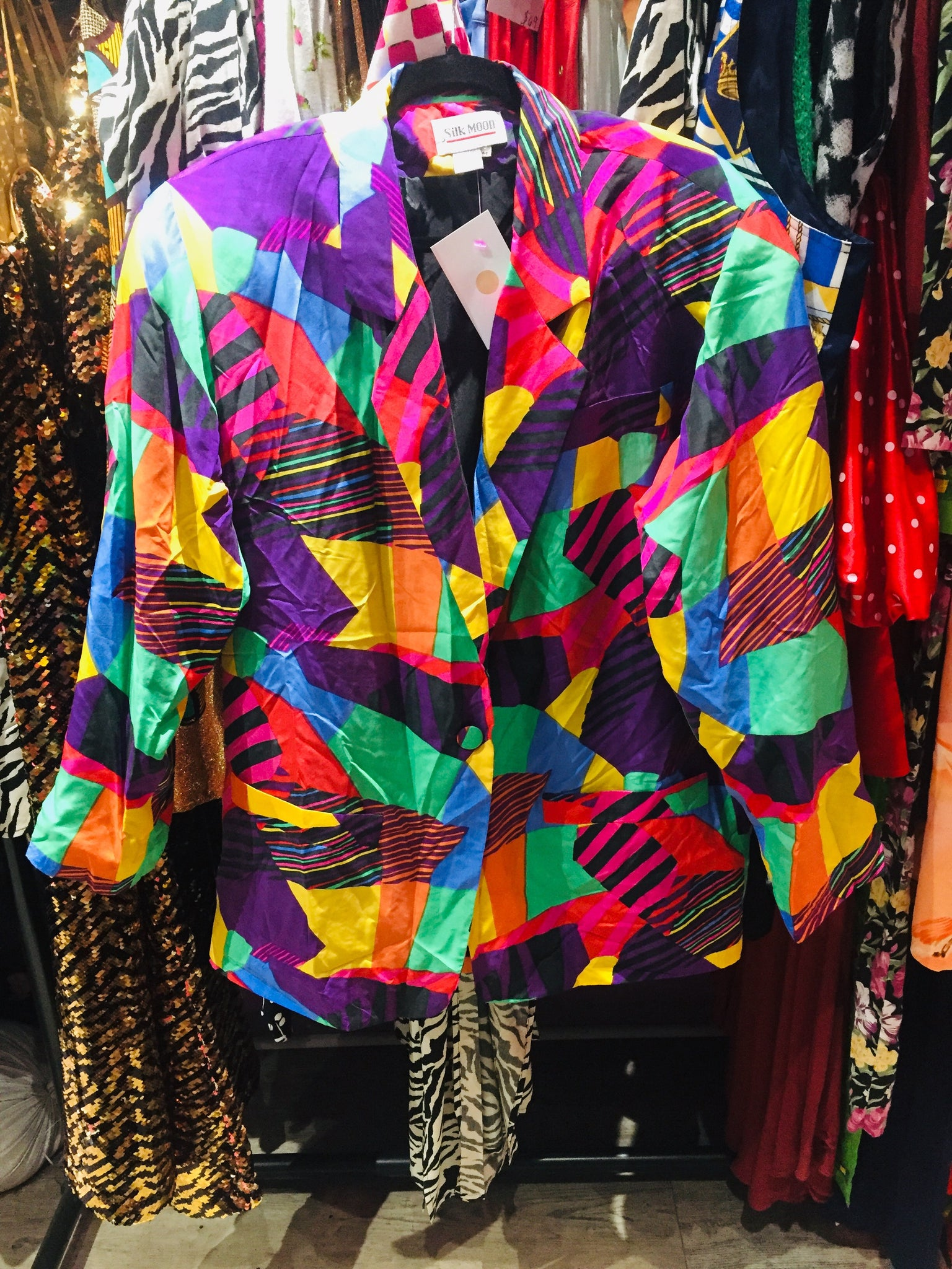 Multicolor Spring Blouse-Jacket Cr\u00eape with Colorful Abstract and Flower Pattern /& Big Collar Unlined Vintage Late 60s-70s Light Blazer