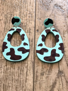 Teal Moo Cow Earrings by No Basic Bombshell | Earrings - 80s 90s Retro Vintage Clothing | Spark Pretty