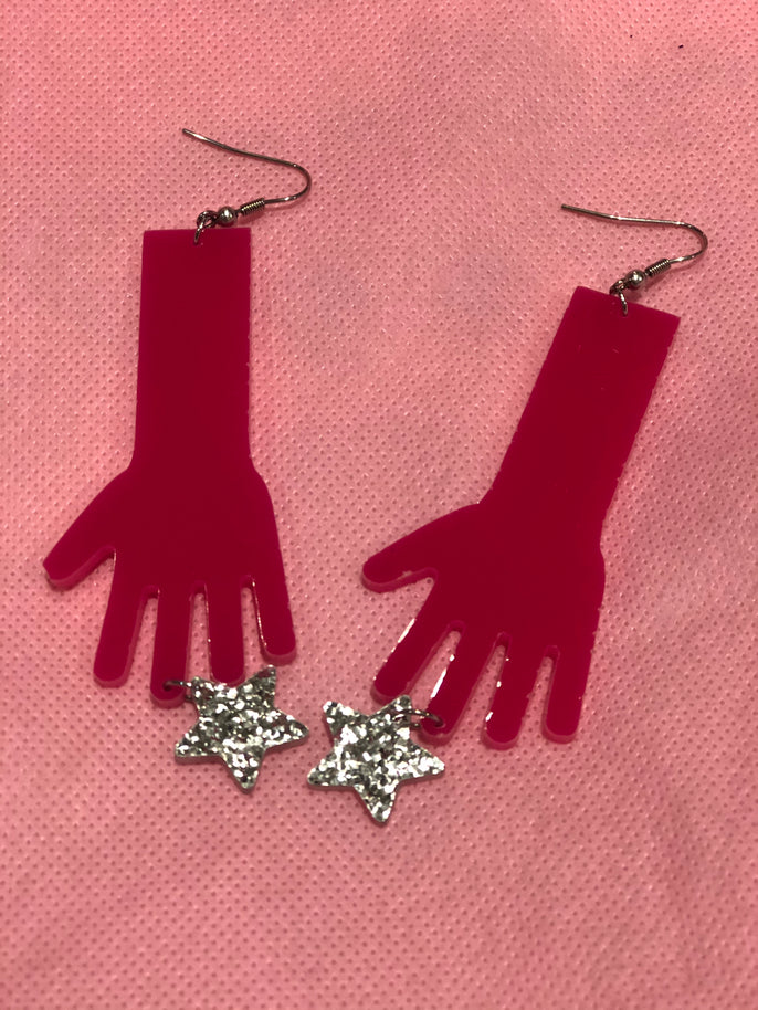 Hot Pink Hands with Silver Glitter Dangle Earrings by No Basic Bombshell | Earrings - 80s 90s Retro Vintage Clothing | Spark Pretty