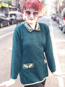 Vintage 80s Hunter Green and Gold Beaded Sweater | Sweaters - 80s 90s Retro Vintage Clothing | Spark Pretty