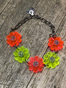 Green and Orange Neon Flower Power Choker by Marina Fini | Necklaces - 80s 90s Retro Vintage Clothing | Spark Pretty