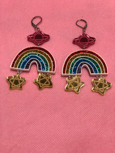 Saturn Star and Rainbow Sparkle Dangle Earrings by No Basic Bombshell | Earrings - 80s 90s Retro Vintage Clothing | Spark Pretty