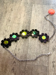 Black Holo Flower Power Belt by Marina Fini - Spark Pretty