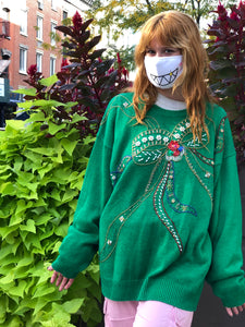Vintage 80s Green Bedazzled Sweater