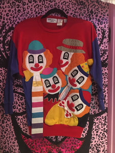 Vintage 80s Clown Sweatshirt patchwork sweater top |  - 80s 90s Retro Vintage Clothing | Spark Pretty