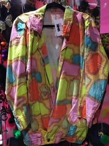 Vintage 80s Oversized Rainbow Dyed Canvas Blazer | Jackets - 80s 90s Retro Vintage Clothing | Spark Pretty
