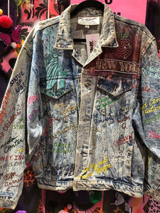 Vintage 1987 authentic Tony Alamo Rhinstone Crystal Studded Painted Jacket | Jackets - 80s 90s Retro Vintage Clothing | Spark Pretty
